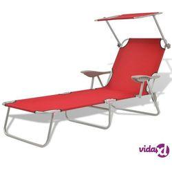 leżak ogrodowy z zadaszeniem, czerwony, stalowy, 58x189x27 cm marki Vidaxl