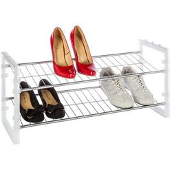 Metalowy stojak na buty, obuwie - 2 poziomy, kolor biały