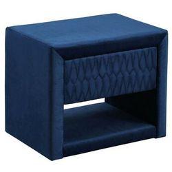 Stolik nocny DANIELE - 1 szuflada i 1 wnęka - Tkanina welurowa - Kolor niebieski