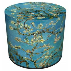 Producent: elior Okrągła tapicerowana niebieska pufa z drzewkiem - matilda