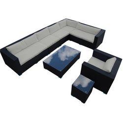 Zestaw mebli ogrodowych czarny technorattan, szare poduszki, T063 BK/GY