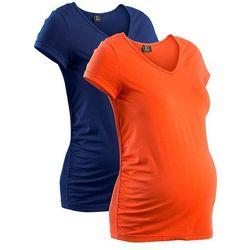 Shirt ciążowy (2 szt.), krótki rękaw bonprix mandarynkowy + kobaltowy, kup u jednego z partnerów