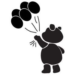 Szabloneria Szablon malarski z tworzywa, wielorazowy, wzór dla dzieci 45 - miś z balonikami