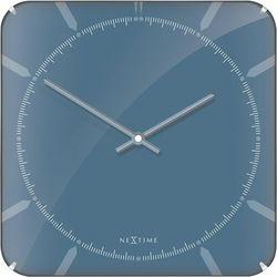 Kwadratowy zegar ścienny Michael Dome Nextime 35 x 35 cm, niebieski