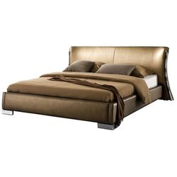 Beliani Nowoczesne łóżko ze skóry ze stelażem złote 140 x 200 cm paris