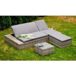 Ekskluzywne łóżko ogrodowe Delilah z pufą i stolikiem technorattanu szary melanż, BG-0137