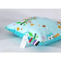 Mamo-tato poduszka minky dwustronna 40x40 sówki miętowe d / turkus