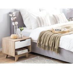 Szafka nocna z szufladą jasne drewno z białym SPENCER
