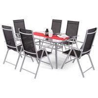 Zestaw mebli ogrodowych aluminiowych Ibiza Basic Silver/Black 6+1 (5902425324301)