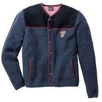 Sweter rozpinany w ludowym stylu regular fit  ciemnoniebieski melanż, Bonprix, S-XXXXL