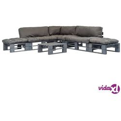 Vidaxl ogrodowe meble z palet, 6 cz., drewno fsc + szare poduszki