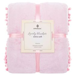Narzuta na łóżko z pomponami, pled 200x220 cm dwustronny koc na kanapę różowy (5907719414676)