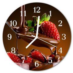 Zegar szklany okrągły czekoladowe truskawki marki Tulup.pl