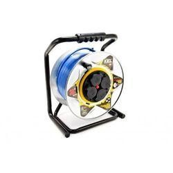 Kabel zasilający Plastrol Przedłużacz bębnowy specjalistyczny Heavy Line 4x2p+Z 16A 3680W 30m niebiesk