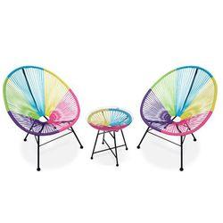 Salon ogrodowy ALIOS II – włókno technorattanowe – wielokolorowy: 2 krzesła i stół