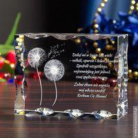 Dmuchawce 3D z Twoją dedykacją ♥ duży, żłobiony kryształ 3D • GRAWER 3D