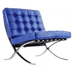 Design town Niebieski fotel dziecięcy skóra naturalna inspirowany projektem barcelona