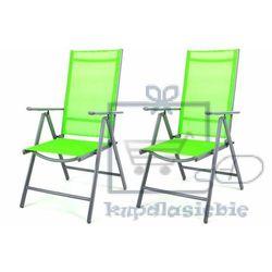 Komplet 2 krzesła aluminiowe garth rozkładane ogrodowe zielone marki Garthen