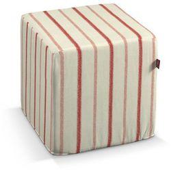 pufa kostka twarda, ecru tło, czerwone paski, 40x40x40 cm, avinon marki Dekoria