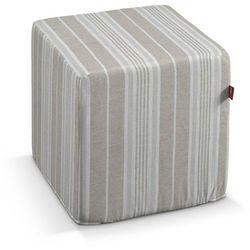 pokrowiec na pufę kostke, lniano-beżowe pasy, kostka 40x40x40 cm, rustica marki Dekoria