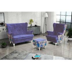 """Zestaw """"RIKI"""" sofa + fotel+podnóżek - pudrowy"""