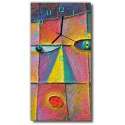 Zegar Szklany Pionowy Sztuka Abstrakcja nadruk kolorowy