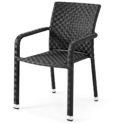 Krzesło ogrodowe z czarnego rattanu z podłokietnikami - sprawdź w wybranym sklepie