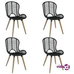 vidaXL Sztaplowane krzesła ogrodowe, 4 szt., naturalny rattan, czarne