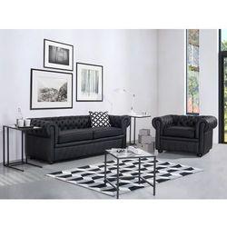 Sofa kanapa skórzana czarna klasyka dom biuro CHESTERFIELD - sprawdź w wybranym sklepie