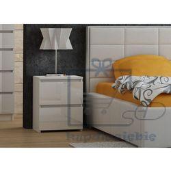 Szafka stolik nocny 2 szuflady biały połysk /m2 marki Tes