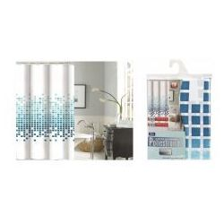 Galicja zasłonka prysznicowa 180 x 200 poliestrowa 9472 wz 3 niebieskie kwadraty