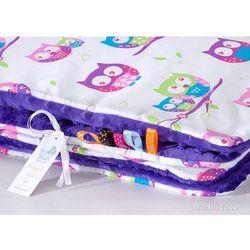 komplet kocyk minky do wózka + poduszka sówki białe z fuksją / fiolet marki Mamo-tato