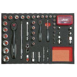Zestaw narzędzi we wkładce z miękkiej gąbki, narzędzia do uruchamiania ¼ + ½, 79