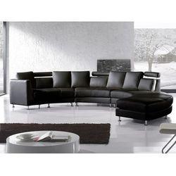 Półokrągła sofa skórzana czarna - 8 miejsc siedzących ROTUNDE