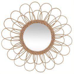 Oryginalne lustro wiszące, na ścianę, połączenie szkła i wikliny, dekoracja ścienna, w plecionej ramie, okrągłe, brązowe,