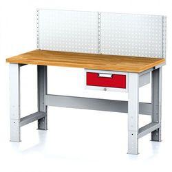B2b partner Stół warsztatowy mechanic z nadstawką, 1500x700x700-1055 mm, nogi regulowane, 1x 1 szufladowy kontener, szary/czerwony