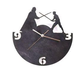 Congee.pl Drewniany zegar na ścianę rycerze ze złotymi wskazówkami (5907509932373)