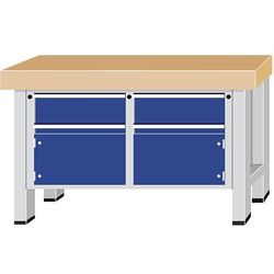 Stół warsztatowy do dużych obciążeń,szer. blatu 1500 mm, z 2 szufladami i 2 drzwiczkami skrzydłowymi