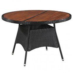 Elior Stół ogrodowy z drewnianym blatem midia - czarny
