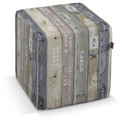 Dekoria Pokrowiec na pufę kostke, brązowo-szare deski, kostka 40x40x40 cm, Marina