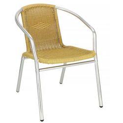 Springos Krzesło ogrodowe, plecione na taras metalowe musztardowe chrom mix