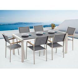 Beliani Meble ogrodowe - stół granitowy 180 cm szary polerowany z 6 szarymi krzesłami - grosseto