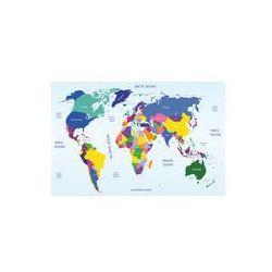 Foto naklejka samoprzylepna 100 x 100 cm - Światowa mapa geograficzna i polityczna, marki fotako do zakupu w FOTAKO
