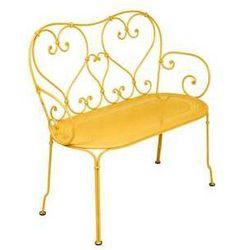 Ręcznie kuta romantyczna ławka ogrodowa 1900 Fermob żółta