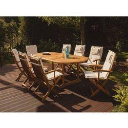 Krzesło ogrodowe drewniane poducha beżowa maui marki Beliani