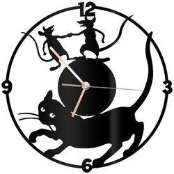 Zegar z pleksi na ścianę Kot i myszy ze złotymi wskazówkami, kolor czarny