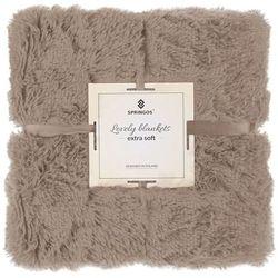 Springos Narzuta na łóżko, pled 200x220 cm dwustronny koc na kanapę brązowy (5907719410159)