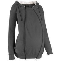 Bluza rozpinana ciążowa z wstawką niemowlęcą i miękką spodnią stroną  antracytowy melanż, Bonprix, 4