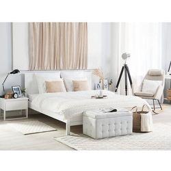 Beliani Drewniane łóżko białe ze stelażem 180 x 200 cm olivet