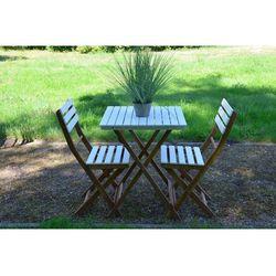 Zestaw ogrodowy biały bonita (stolik + krzesło x2) marki Miloo